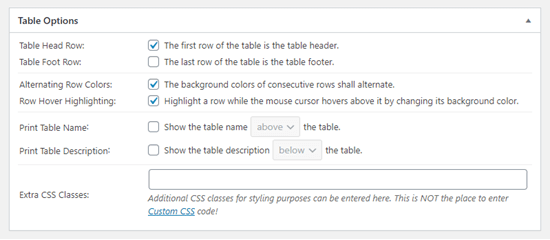 The 'Table Options' section in TablePress