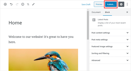 Publish your homepage once you're ready