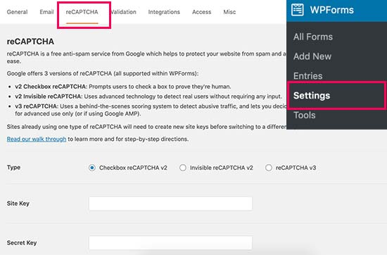 Adding reCAPTCHA to your contact form