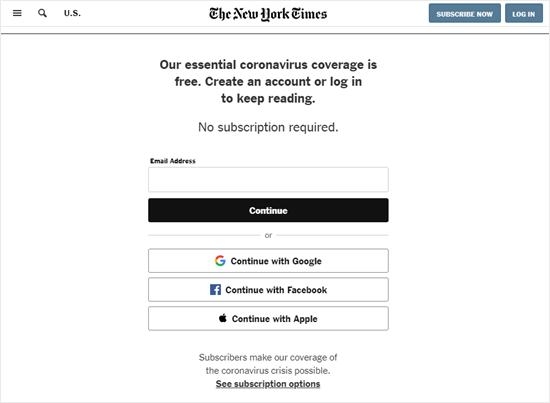 New York Times asking for an email address but not payment