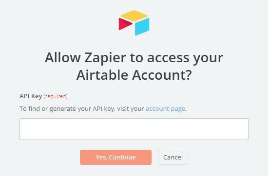 Enter your Airtable API key