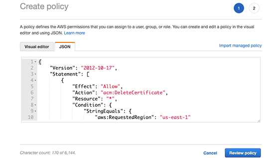 Copy and paste the policy rules in JSON format