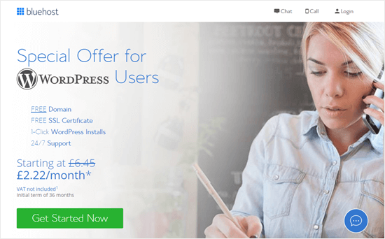 Bluehost's offer for WPBeginner readers