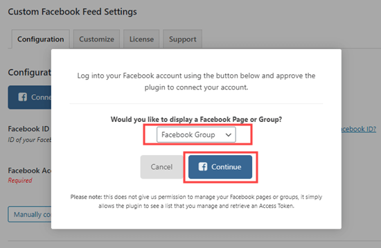 Select Facebook Group from the dropdown menu and click to continue