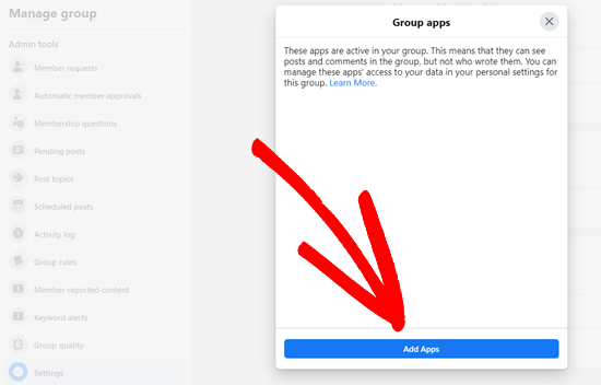 Click the Add Apps button to add a new app to your Facebook group