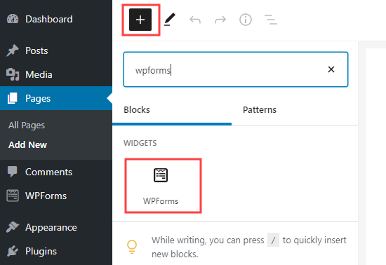 Add a WPForms block to your page in WordPress