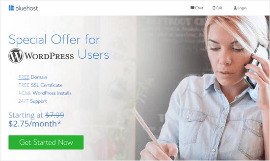 Bluehost offer for WPBeginner readers