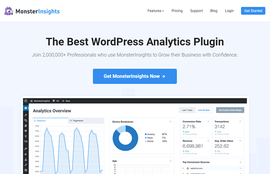 monsterinsights best analytics wordpress plugin