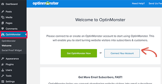Connect OptinMonster to your WordPress account