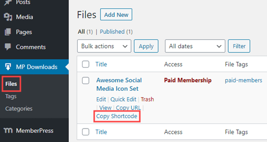 Copying the MemberPress shortcode for your file