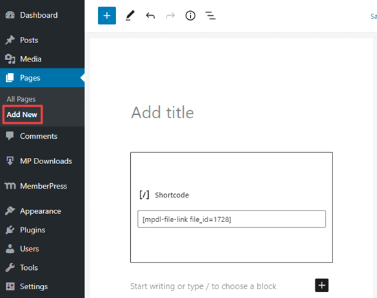 Creating a new page in WordPress and adding your download shortcode