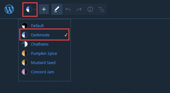 Switching dark mode on in the WordPress block editor
