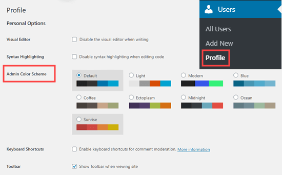 Selecting an admin color scheme in WordPress, on your user profile page