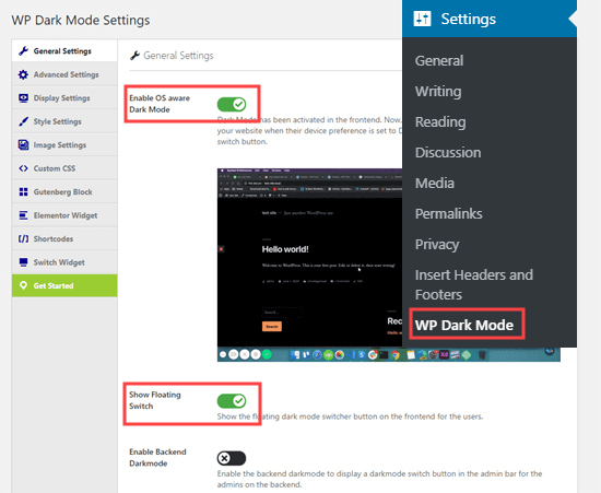 The General Settings page for the WP Dark Mode plugin