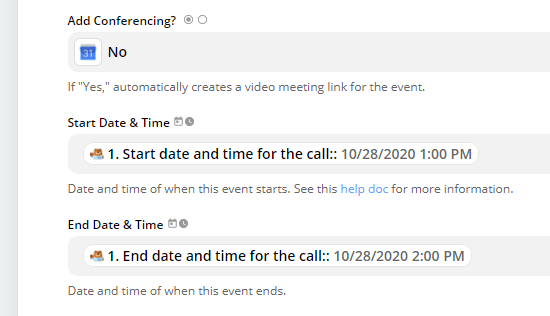 Select the correct fields from your form for the start and end times of the event