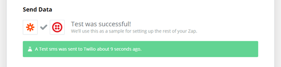 Zapier's message showing that the test text was successful