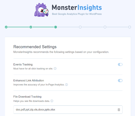 Recommended Settings in MonsterInsights