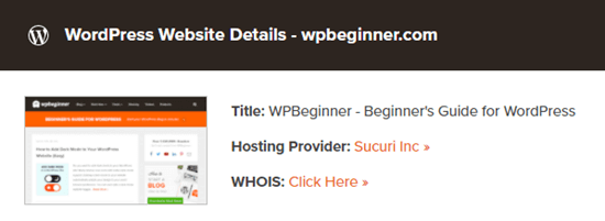 The theme detector tool lists Sucuri as the host for WPBeginner