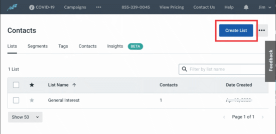 Create your Constant Contact list