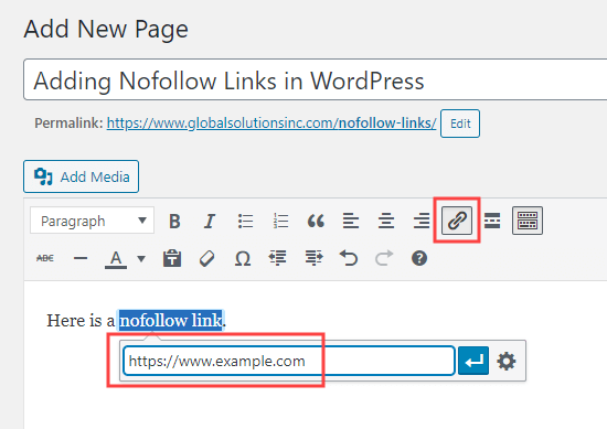 Adding a link in the classic editor, using the link button