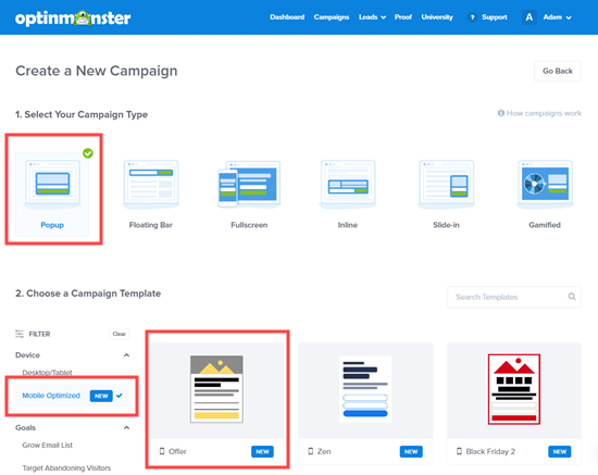 Choose a mobile-optimized campaign template in OptinMonster's campaign builder