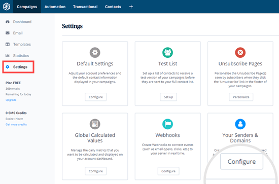 Selecting the Configure option for Senders and Domain in your Sendinblue dashboard