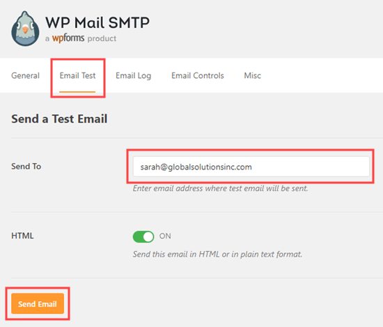 Send a test email from WP Mail SMTP