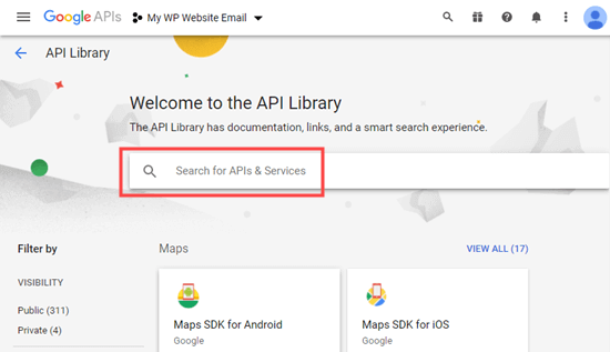 The API library search bar