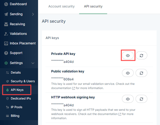 Copying your private API key from Mailgun