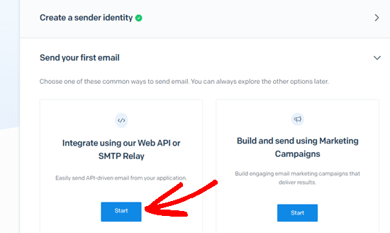 Click the Start button under the Web API and SMTP Relay option
