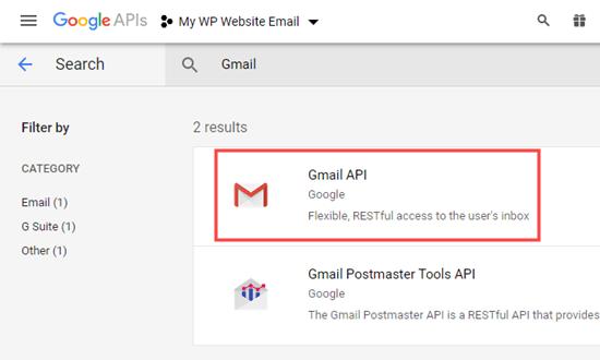 Selecting the Gmail API