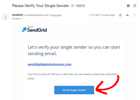 Verify the single sender's email address