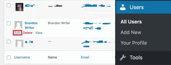 WordPress users dashboard