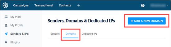 Adding a new domain in Sendinblue