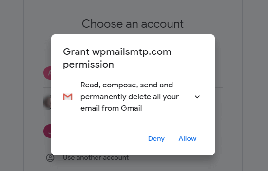 Give WP Mail SMTP permission to access and use your Gmail account