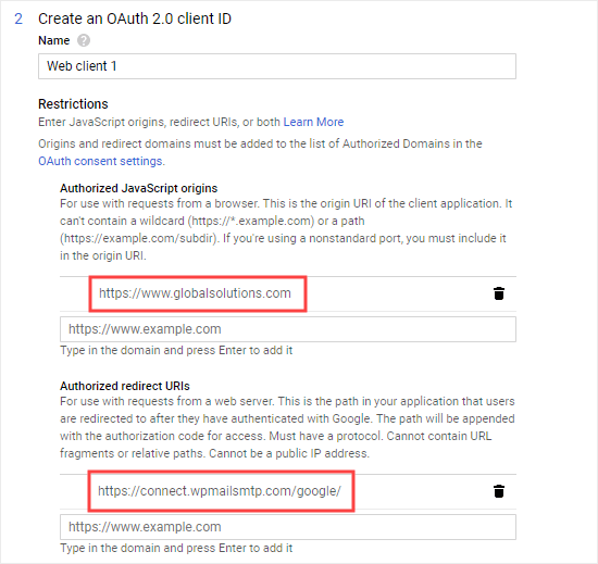 Enter the URL from your WP Mail SMTP settings