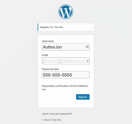 WordPress user registration form
