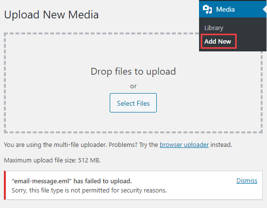 Uploading a file in Media Library that shows the file not permitted security message