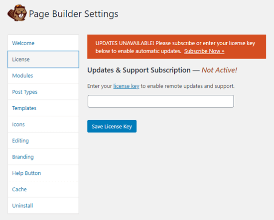 Adding your license key to Beaver Builder