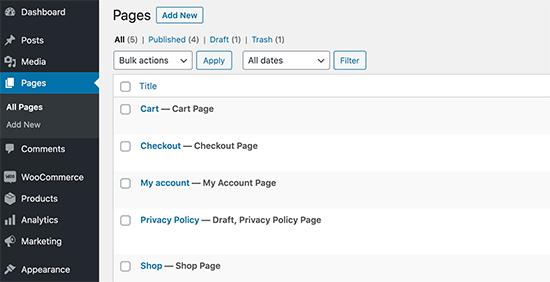 WooCommerce default pages