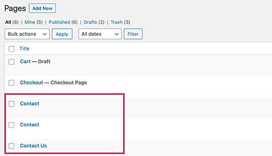 Accidentally deleting similarly named pages in WordPress