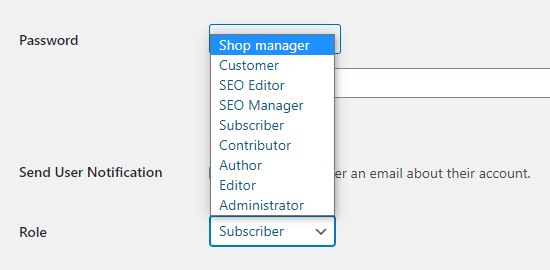 Additional user roles created by WooCommerce and All in One SEO