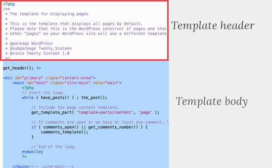 Template header of a typical page php file in WordPress