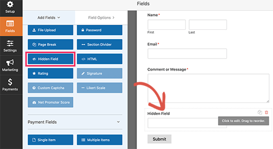 Adding a hidden field to your WordPress form