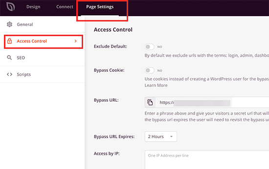 Control who can access your website under coming soon mode