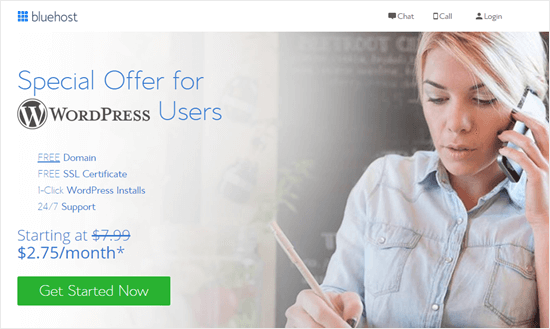 The Bluehost special offer for WPBeginner readers