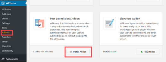 Installing the WPForms post submissions addon
