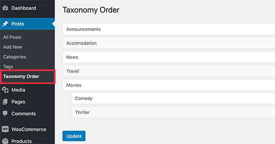Taxonomy order page
