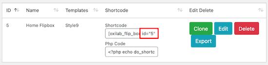 Flipbox widget id