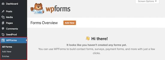 WPForms plugin install menu
